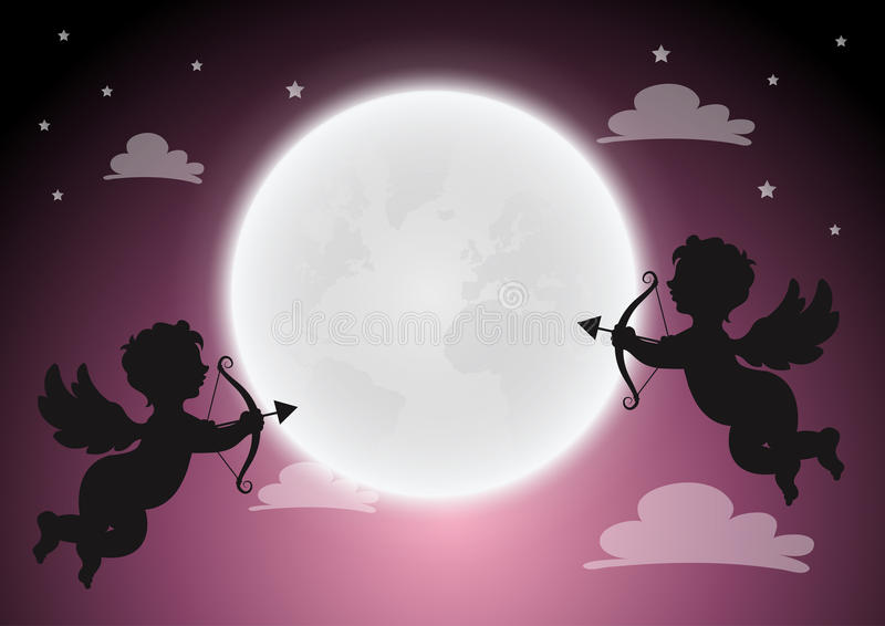 Купидон с полнолунием на небе, счастливой влюбленности, свадьбе поздравительной открытки Vec бесплатная иллюстрация
