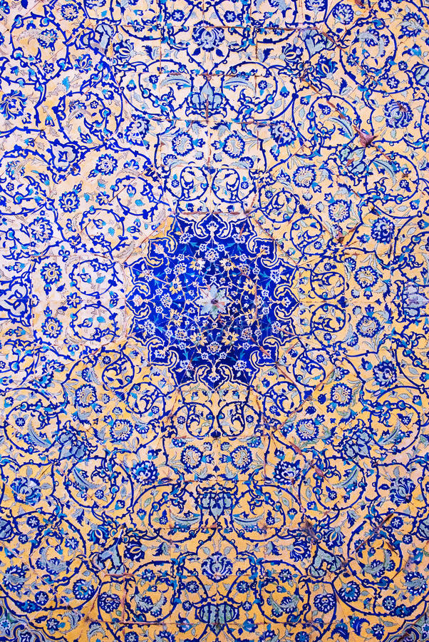 Купол мечети, востоковедные орнаменты, Isfahan стоковая фотография