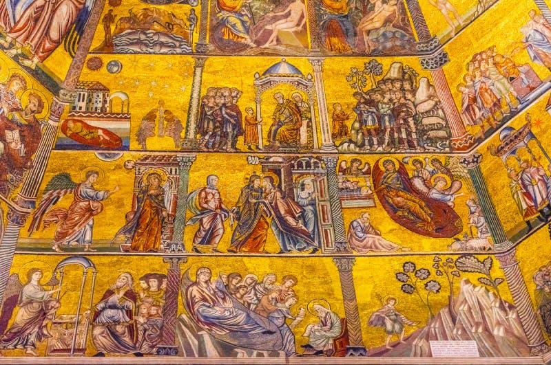 Купол Bapistry St. John Флоренс Италия мозаики библии девой марии стоковое фото