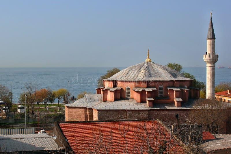 Купол и минарет меньшей мечети Hagia Sophia Kucuk Aya Sofya стоковое изображение rf