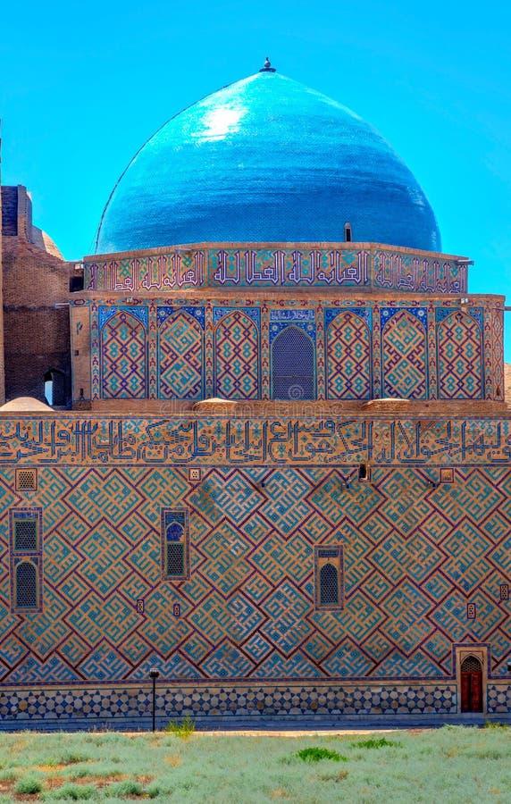 Купол на мавзолее Turkistan, Казахстане стоковые изображения rf