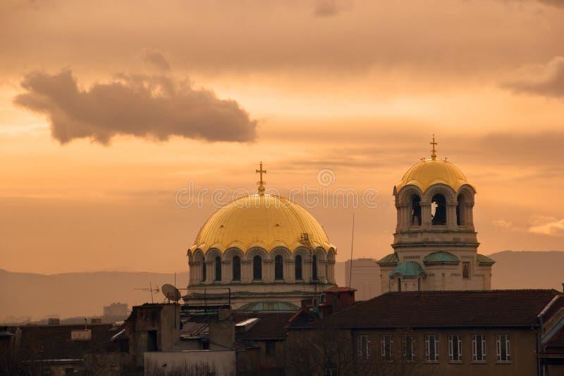 Купол церков на восходе солнца стоковые изображения rf