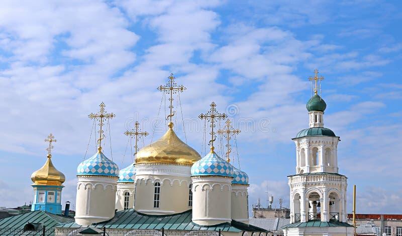 Куполы собора Николаса в Казани стоковое фото rf