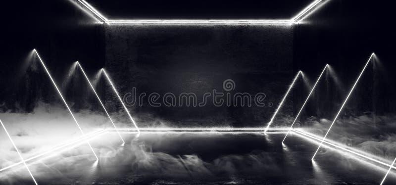Курите бетон Grunge отражения лазерных лучей белой вертикальной горизонтальной прямой темного пустого виртуального дневного неона бесплатная иллюстрация