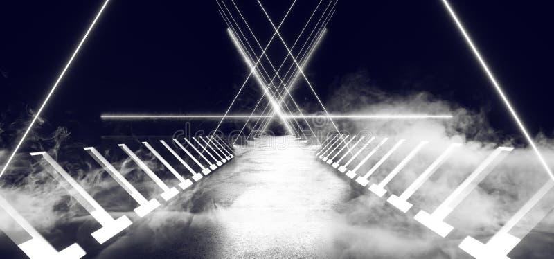 Курите круга космического корабля Sci Fi чужеземца тумана дыма тумана отражать неоновых лазерных лучей треугольника футуристическ бесплатная иллюстрация