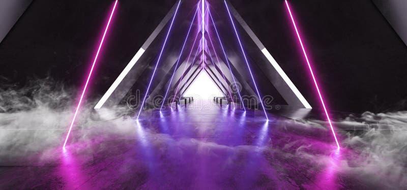 Курите синь пурпура светов лазерного луча космического корабля треугольника Sci Fi неоновую накаляя виртуальную дневную на конкре иллюстрация вектора