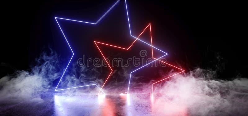 Курите темную пустую черную звезду сформировал неоновые накаляя пурпура виртуальной реальности лазера света дневного голубого жив бесплатная иллюстрация