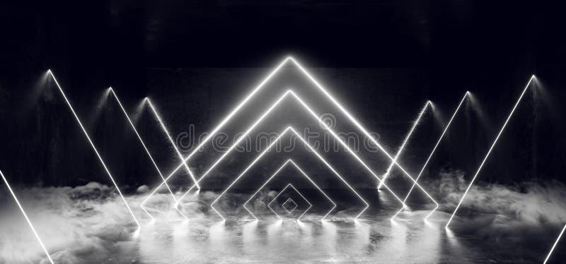 Курите темный пустой виртуальный дневной неон накаляя белая линия треугольника сформировала бетон Grunge отражения лазерных лучей иллюстрация штока