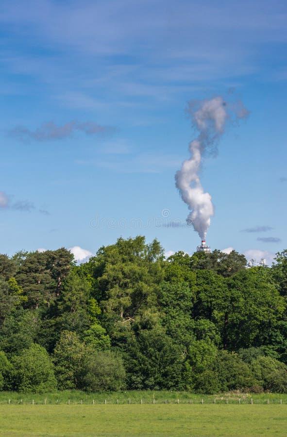 Курите шлейф электростанции над деревьями в сельской южной Шотландии, u стоковое фото rf