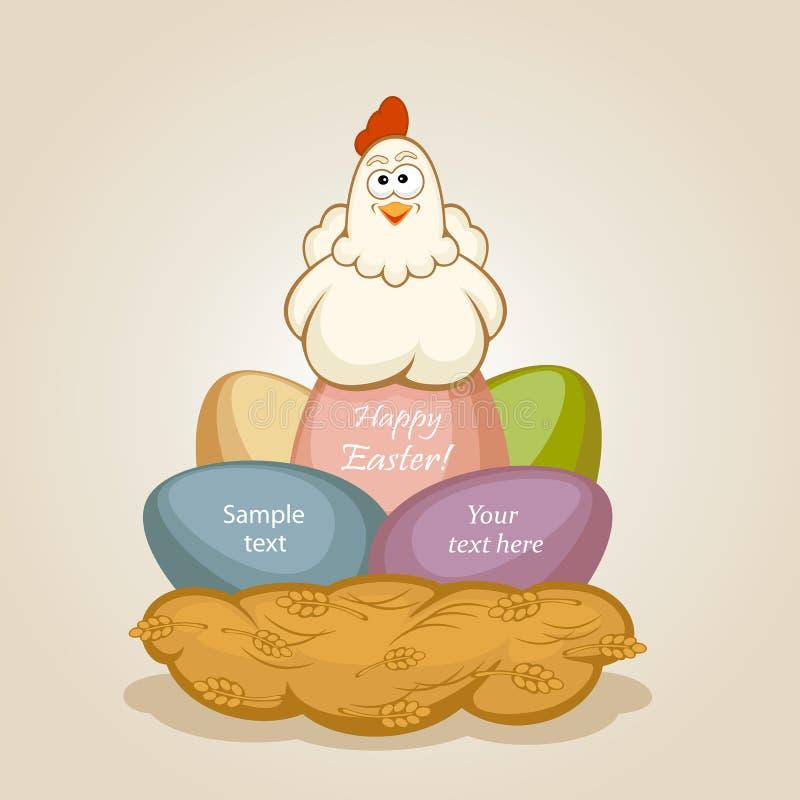 Пасхальные яйца и курица иллюстрация штока