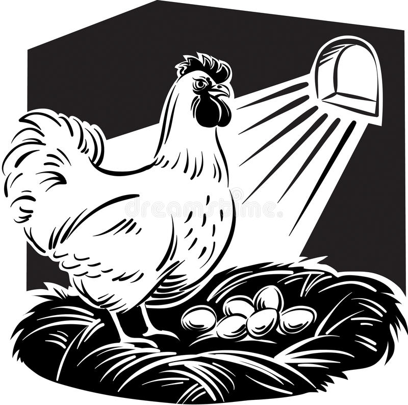 Курица в гнезде бесплатная иллюстрация