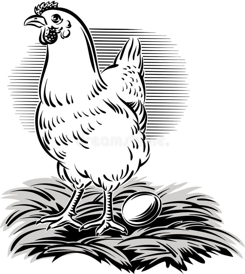 Курица в гнезде иллюстрация вектора