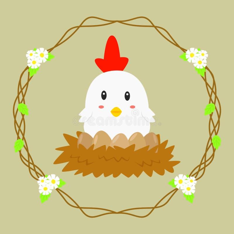 Курица грея ее яичка бесплатная иллюстрация