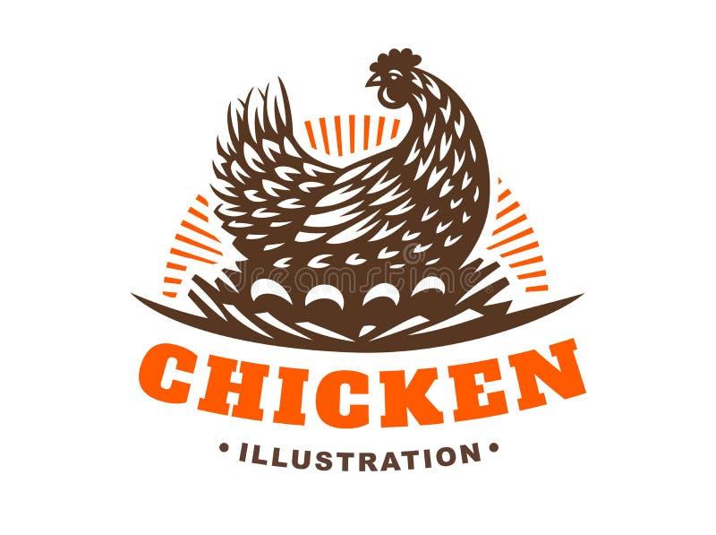 Курица инкубирует эмблему яичек на белой предпосылке бесплатная иллюстрация