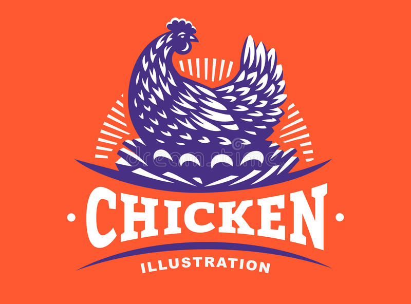 Курица инкубирует эмблему яичек на красной предпосылке иллюстрация штока