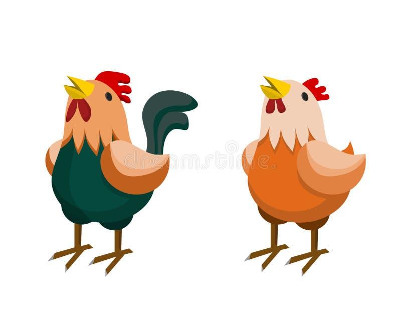 Курица и петух Брайна иллюстрация вектора