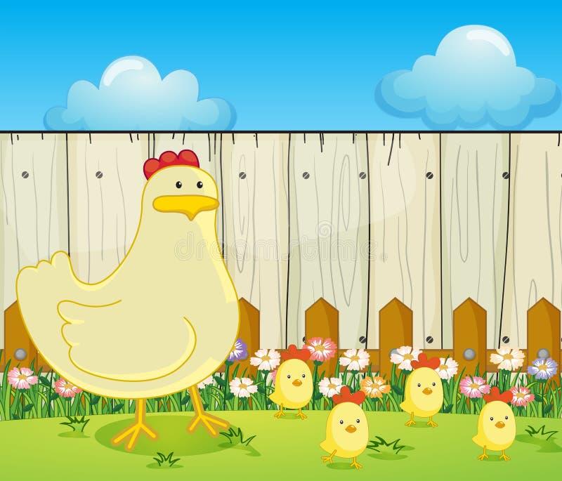 Курица и 4 цыпленока бесплатная иллюстрация