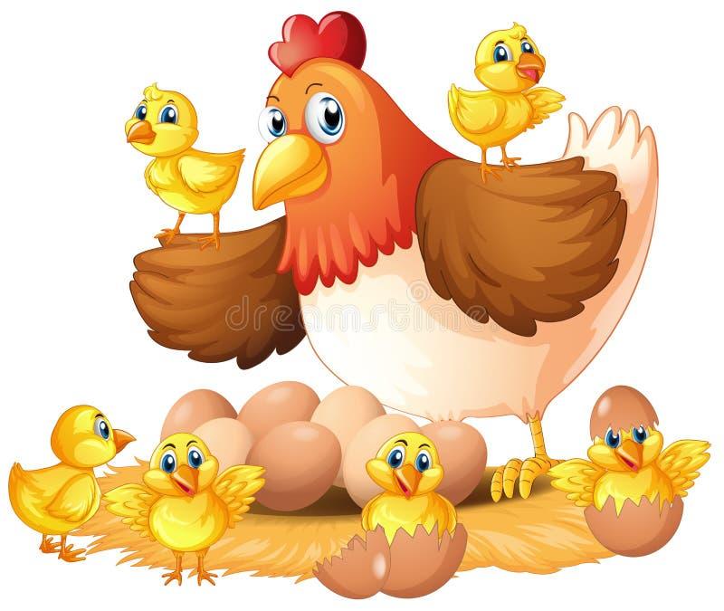 Курица и цыпленоки на гнезде иллюстрация вектора