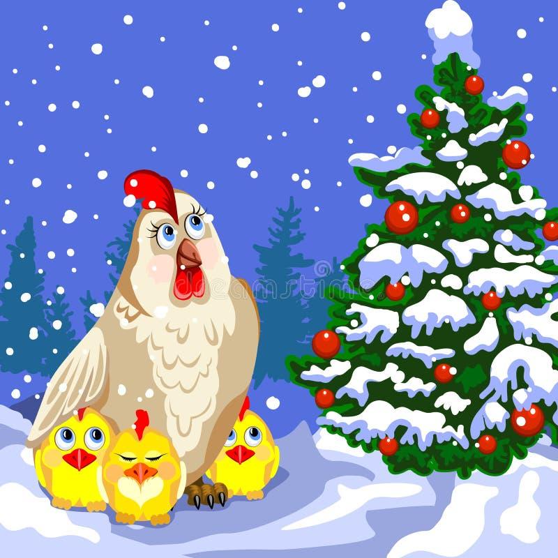 Курица и цыплята около рождественской елки бесплатная иллюстрация