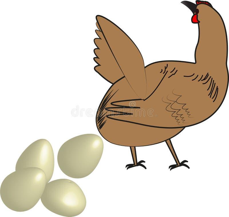 Курица и яичко иллюстрация штока