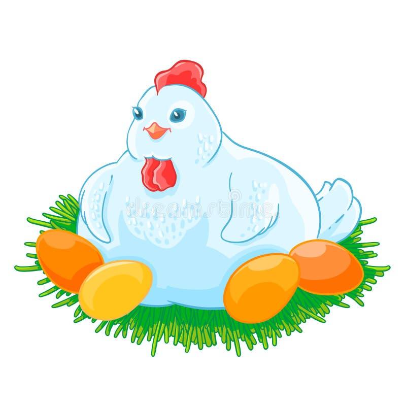 Курица матери сидит яичка насиживает в гнезде бесплатная иллюстрация