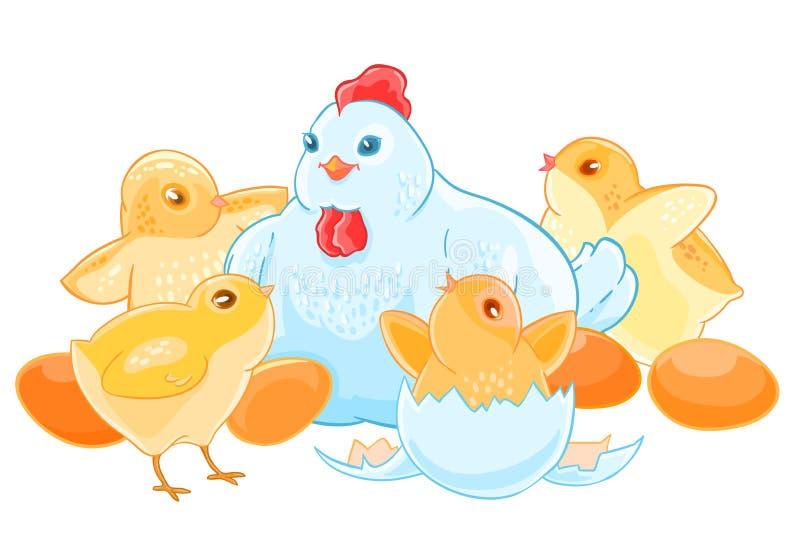 Курица матери шаржа сидит на яичках Выводок милых маленьких цыпленоков бесплатная иллюстрация