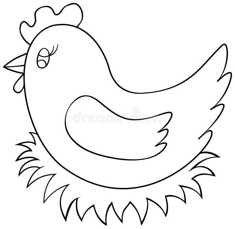 Курица сидя на странице книжка-раскраски гнезда Иллюстрация вектора плана цыпленка иллюстрация вектора