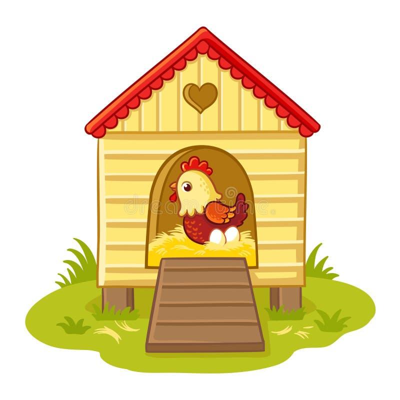 Курица сидит в курятнике иллюстрация вектора