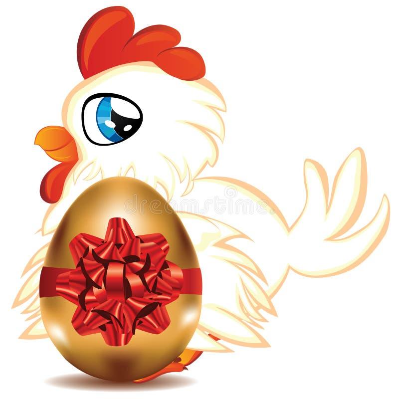 Курица с золотым яичком иллюстрация вектора