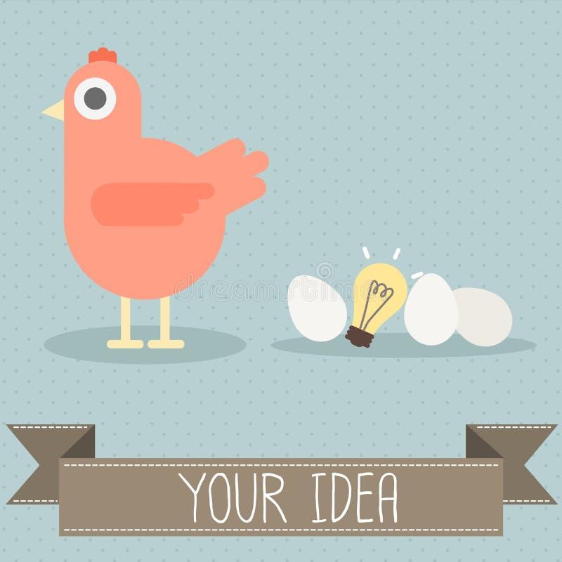 Курица с яичком и электрической лампочкой бесплатная иллюстрация