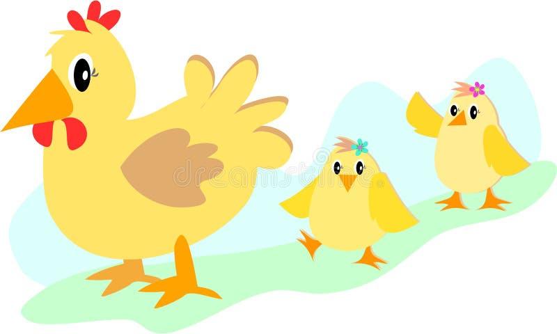 курица цыпленоков иллюстрация штока