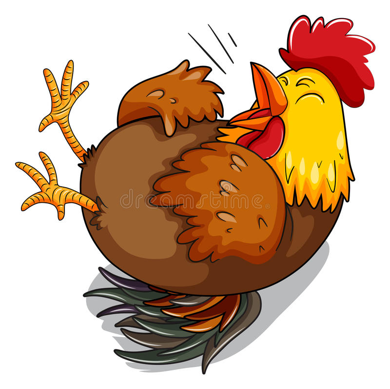 Курица цыпленка смеясь над на поле иллюстрация вектора