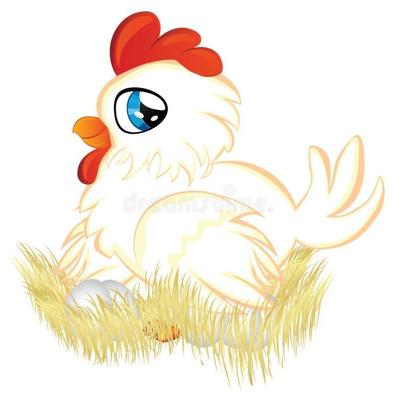 Курица шаржа в гнезде бесплатная иллюстрация