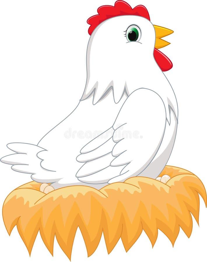 Курица шаржа в гнезде иллюстрация штока