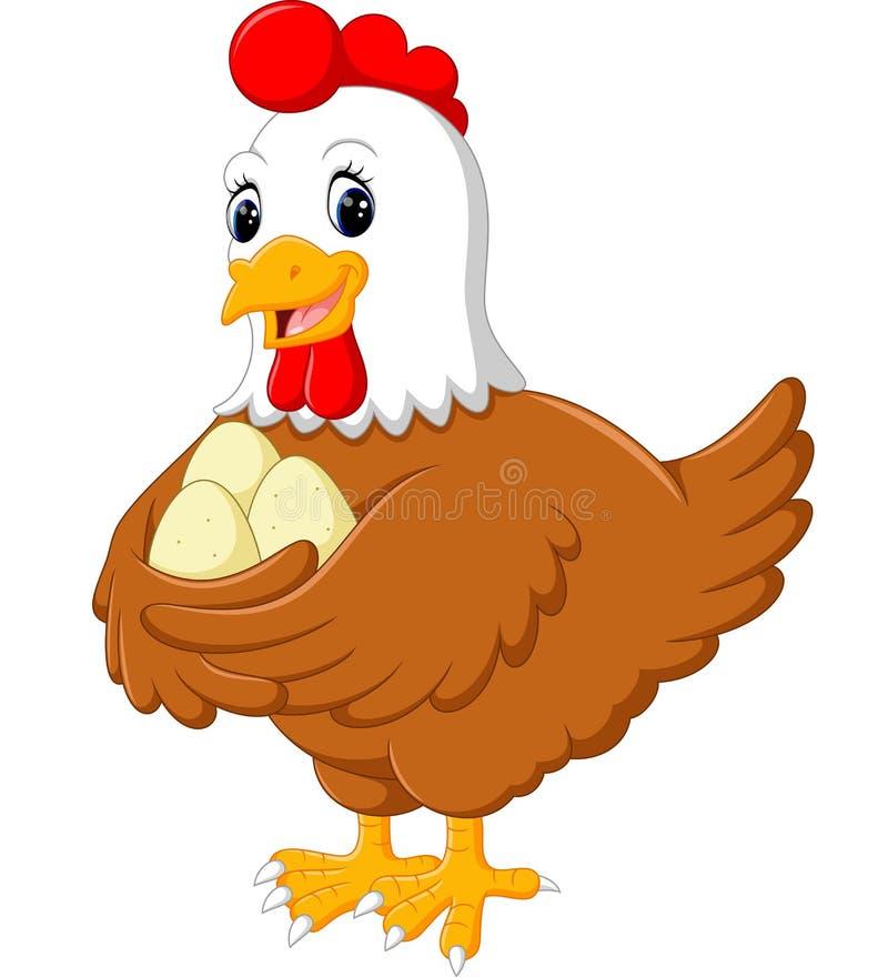 Курица шаржа и ее яичка бесплатная иллюстрация