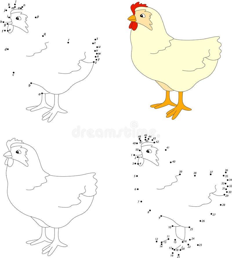 Курица шаржа Книжка-раскраска и точка для того чтобы поставить точки игра для детей бесплатная иллюстрация