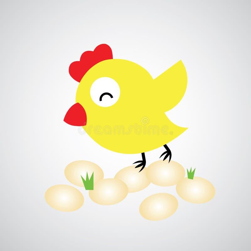 Курица шаржа с яичками бесплатная иллюстрация