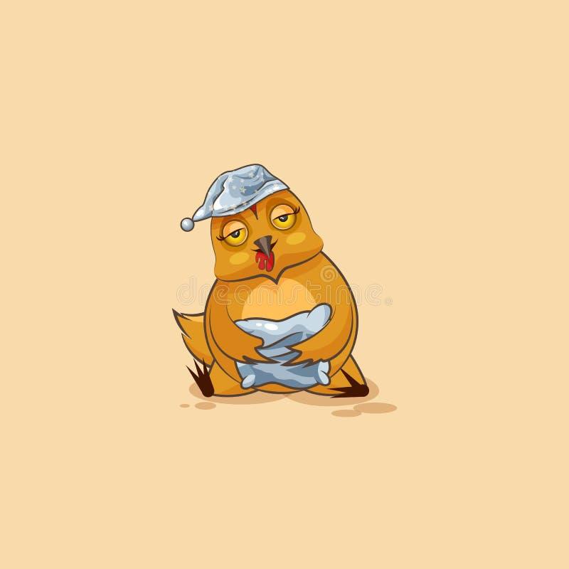 Курица шаржа характера Emoji сонная бесплатная иллюстрация