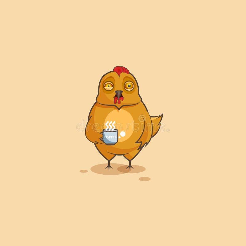 Курица шаржа характера Emoji слабонервная с чашкой кофе бесплатная иллюстрация