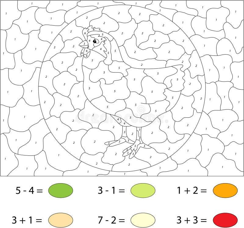 Курица шаржа Цвет игрой номера воспитательной для детей бесплатная иллюстрация