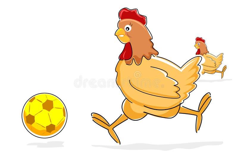 курица шарика играя футбол иллюстрация вектора