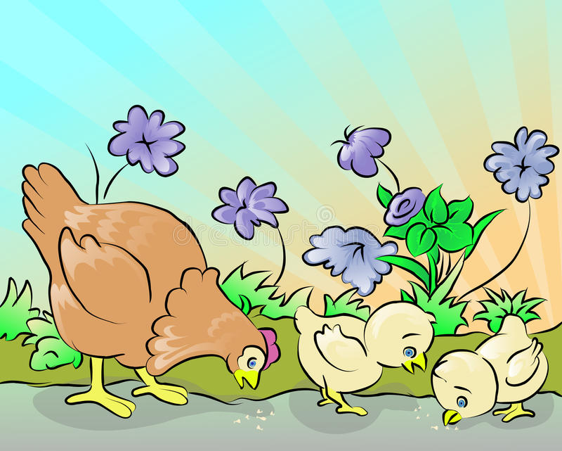 курица 2 цыпленка иллюстрация вектора