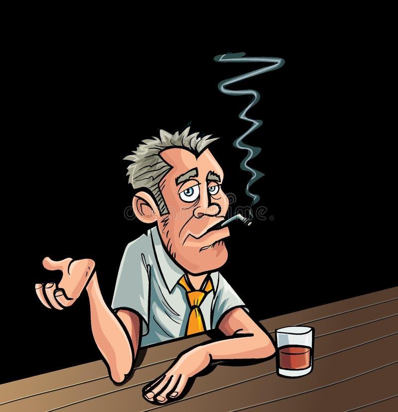 Курильщик шаржа сидя на баре иллюстрация вектора