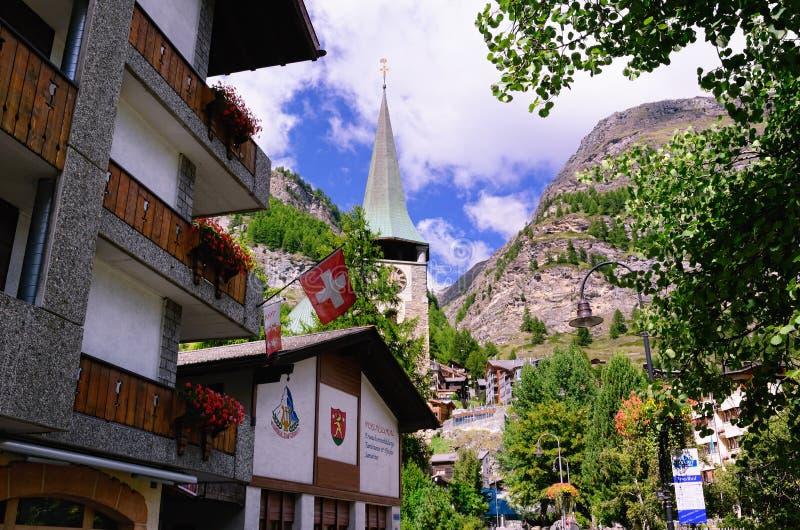 Курортный город Zermatt, Швейцарии стоковое фото rf