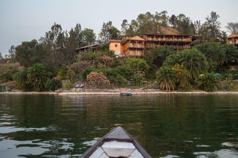 Курорт берега озера, озеро Kivu, Kibuye, Руанда стоковое изображение rf