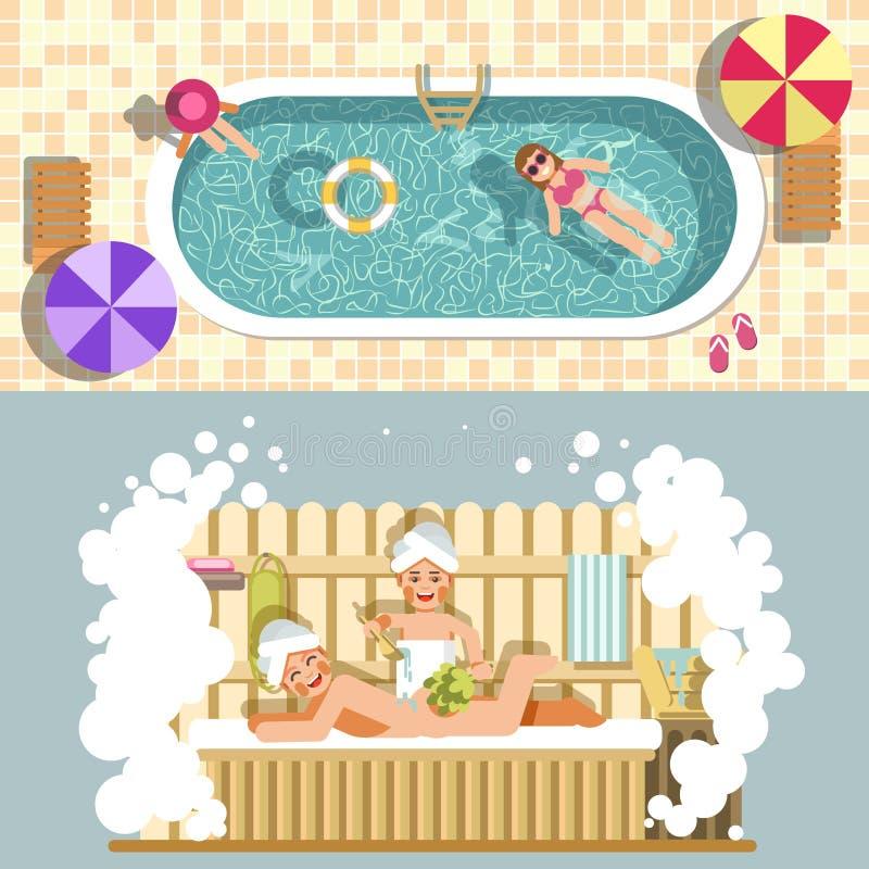 Курорт вектора сауны и бассейна плоский ослабляют или каникулы летнего отпуска иллюстрация штока