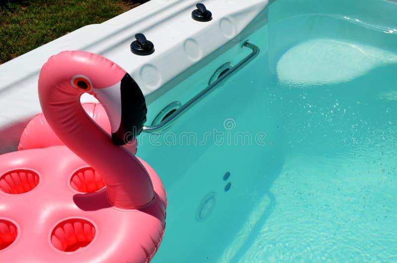 Курорт заплыва с раздувным фламинго стоковое изображение rf