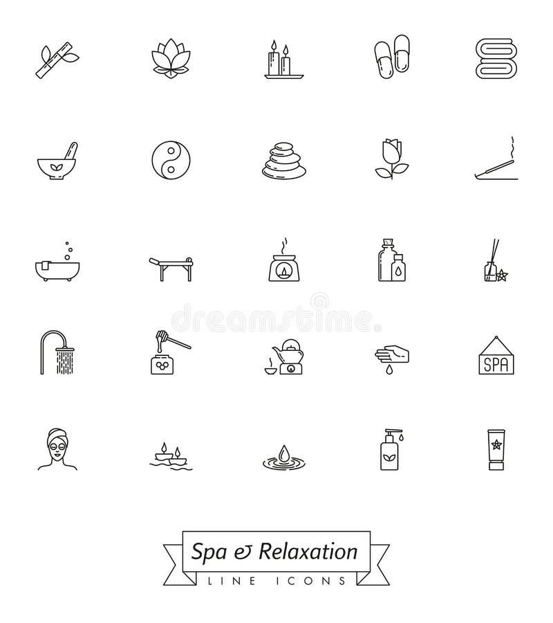 Курорт и линия комплект релаксации значка иллюстрация вектора