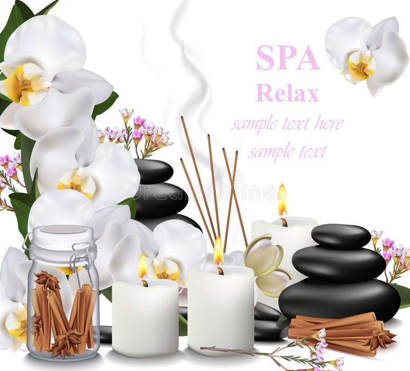 Курорт ослабляет свечи карточки, орхидею, ароматности и камни Vector иллюстрации иллюстрация вектора