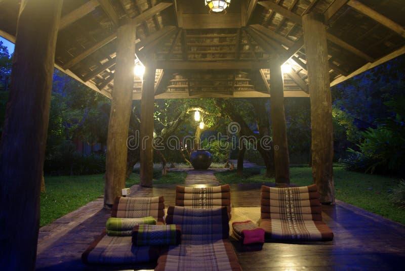 Курорт павильона курорта на освещении ночи стоковое фото